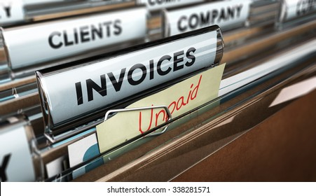 Close up on a file tab with the word invoice and a note where it is handwritten unpaid with blur effect. Concept image for illustration of unpaid invoices recovery.