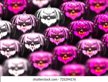 Close up on white and pink pumpkins. 3d illustration