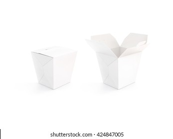 Close and open blank wok box mockup stand isolated, 3d rendering. Empty clear noodle carton box mock up. Asian take away food paper bag template. Chinese meal container packaging. Rice, udon, pasta