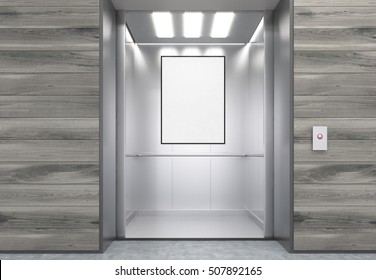 Close up of open elevator with a framed vertical poster hanging in it. Wooden walls. Concept of marketing. 3d rendering. Mock up.