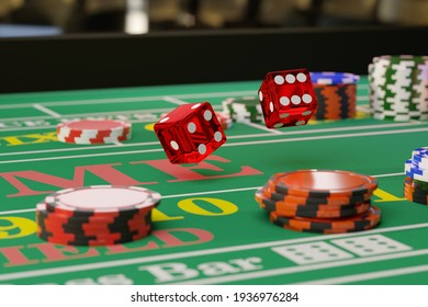 Close up of a pair of dice rolling down a craps table. Selective focus.Gambling concept. 3d illustration.