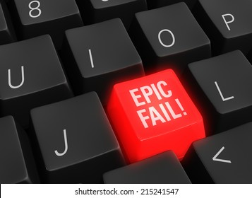 "Close up photo-real illustration of a black computer keyboard with a glowing red ""EPIC FAIL"" key."