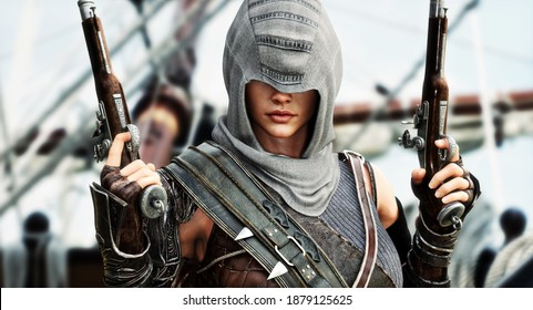 Nahaufnahme eines Nahaufnahme-Porträts eines weiblichen Pirat-Attentäters, der sich mit ihren Flintlock-Pistolenwaffen auf dem Deck oder ihrem Schiff posiert. 3D-Rendering