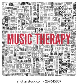 Close up Red MUSIC THERAPY Text at the Center of Word Tag Cloud on White Background.