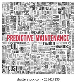 Close up Red PREDICTIVE MAINTENANCE Text at the Center of Word Tag Cloud on White Background.
