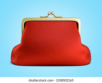 Close Red wallet 3d render on blue gradient background