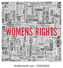 Close up Red WOMENS RIGHTS Text at the Center of Word Tag Cloud on White Background.