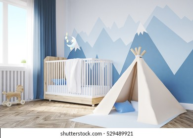 Close up of babyâ??s room. 3d rendering.