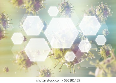 Close up of roundish viruses against green background. Concept of medical and chemical research. 3d rendering. Toned image. Double exposure.
