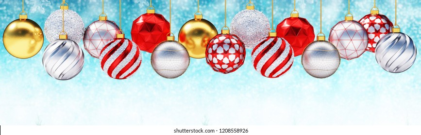 Close up row of multiple gold, silver and red christmas balls against snow background.Panoramic banner with copy space.