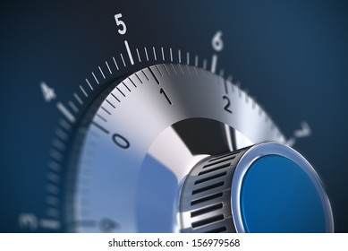 Close up of a safe lock with blur effect and focus on the number one, blue tones. Conceptual image suitable for security and secrecy illustration.