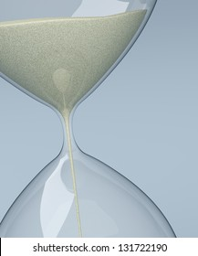 close up of sand flowing through an hourglass (3d render)