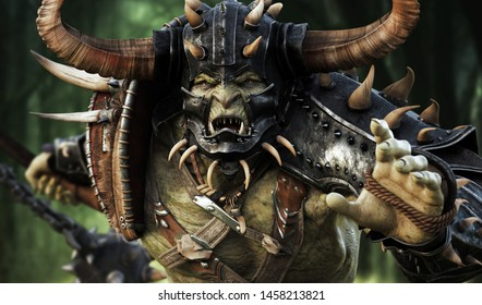 Close up of a savage orc brute heavily armored and running into battle wearing traditional gear and equipped with a flail weapon . Fantasy themed medieval character. 3d Rendering