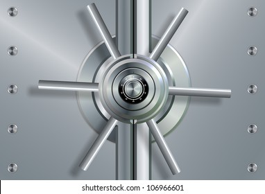 a close up of a shiny steel vault door and combination lock / vault