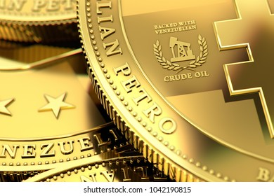 Close up shot on Venezuelan PETRO cryptocurrency concept coins. Backed with crude oil sign close up, as Petro is backed with oil. 3D rendering