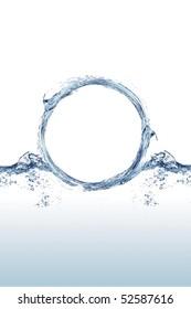 "Close shot of water splashing in the shape of an ""O"""
