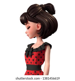 Close up side portrait of 3d cartoon character woman standing with eyes closed. Beautiful teenager girl with short brown hair. Brunette pin-up girl in red retro dress. 3D render on white background.