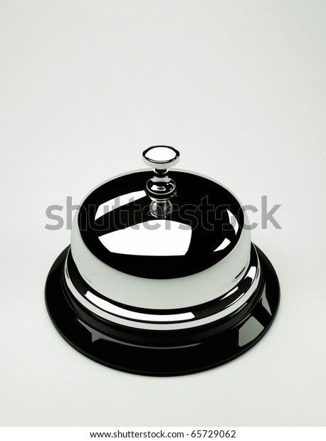 Close up of a silver bell on white background - this is a 3d render illustration