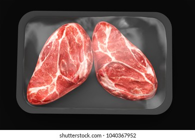 Close up of steaks, on pack, isolated on black background. Mockup. 3d illustration. 3d rendering