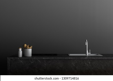 Close up of stone kitchen countertop with built in sink and oven standing in room with gray walls. Concept of interior design. 3d rendering