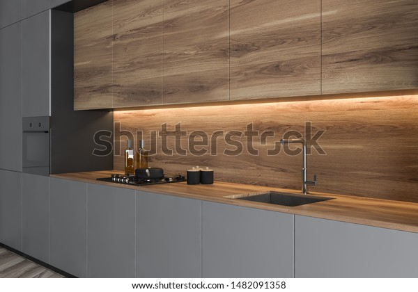 Close Stylish Gray Kitchen Countertop Built Stock Illustration