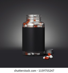 Close up of transparent bottle with blank label and medicine pills on black background, 3d rendering.