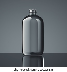 Close up of transparent closed bottle on dark background, 3d rendering.