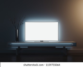 Close up of TV set with blank screen standing on TV stand, 3d rendering.