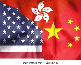 close up. Flag of the People's Republic of China. Flag of the United States. Hong Kong flag, 3d illustration