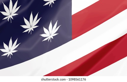 close up, on the national flag of United States with Marijuana leafs as stars, closeup illustration. American cannabis legalization concept.