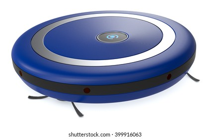 close up view of a blue vacuum cleaner robot (3d render)