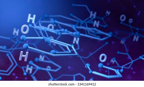 close up view of a chemical structure, concept of science and technology (3d render)