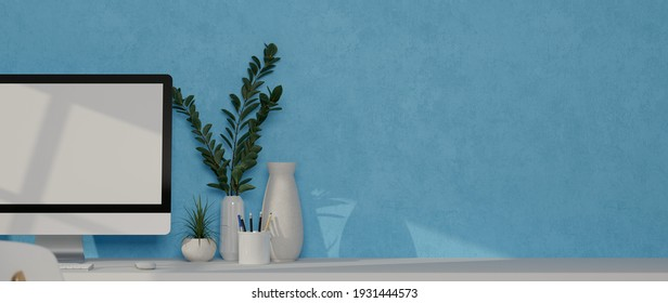 Close up view of computer desk with mock up monitor, accessories, plant pots and copy space, 3D illustration, 3D rendering