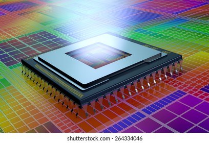 close up view of a CPU on an electronic circuit, the cpu is without the cover and a light comes out from the hole (3d render)