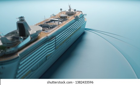 Close up view of cruise liner sailing in the sea. Concept art of advertising. 3d illustration
