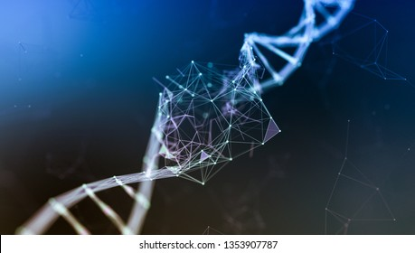 close up view of a dna double helix, dna damage, concept of disorder or genetic mutation (3d render)