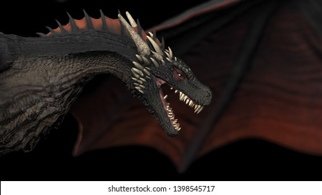 Close up view of Dragon  flying black background isolated 3d illustration
