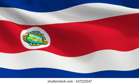 A close up view of the flag of Costa Rica with fabric texture visible at 100%.