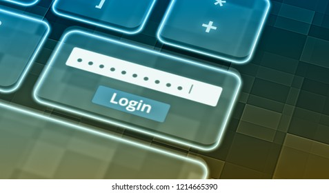 close up view of a futuristic keyboard with a text box for the password and a login button, concept of computer security (3d render)