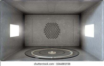 A close view inside an operational household microwave  - 3D render