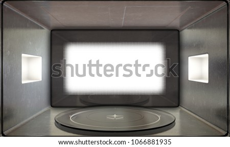 A close view from inside an operational household microwave looking outwards with a shut door - 3D render
