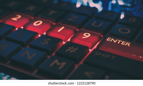 Close up view of keyboard with red light on 2019 number keys and enter key. Technical concept for entrance or start to new year. Happy new year, 2019. 3D rendering.