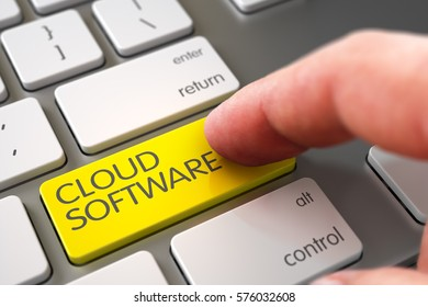 Close Up view of Male Hand Touching Yellow Cloud Software Computer Keypad. 3D Render.