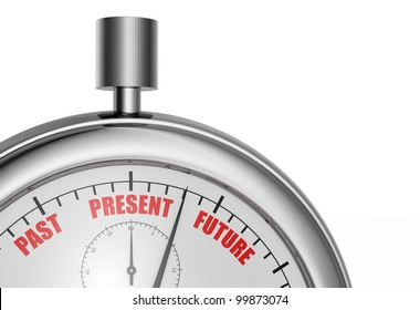 close up view of one stopwatch with the words: past present and future (3d render)