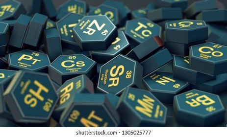 close up view of a pile of hexagons with chemical elements symbols (3d render)