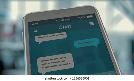 close up view of a smartphone with a mockup of a chat app (3d render)