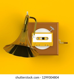 Close up of vintage audio tape cassette with gramophone concept illustration on yellow background, Top view with copy space, 3d rendering