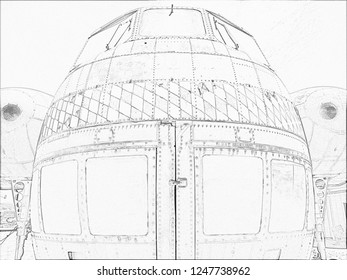 Close up of a vintage cargo helicopter pencil sketch