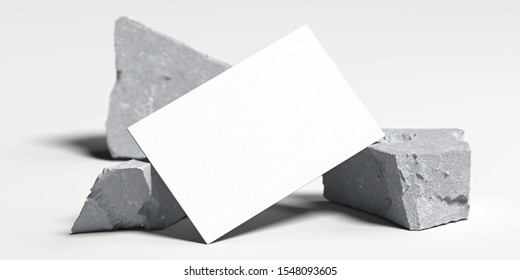 Close up of white blank business card near broken concrete , 3d rendering. Empty space. Copy space.