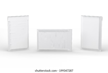 Close  white  bubble padded envelope with clipping path